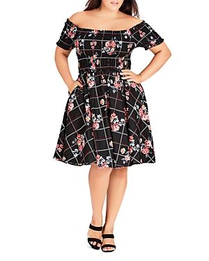 City Chic Plus Off-the-Shoulder Cotton Floral-Print Dress
