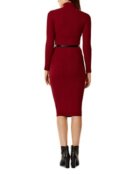 KAREN MILLEN - Belted Rib-Knit Dress