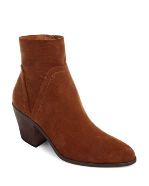 Women'S Cherie Leather Block Heel Booties, Brandy Embossed Suede