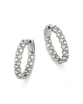 Bloomingdale's - Diamond Hoop Earrings in 14K White Gold, 4.0 ct. t.w. - 100% Exclusive