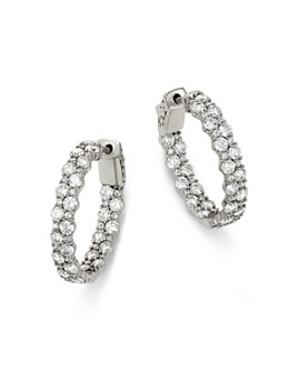 Bloomingdale's - Diamond Hoop Earrings in 14K White Gold, 4.0 ct. t.w. - 100% Exclusive