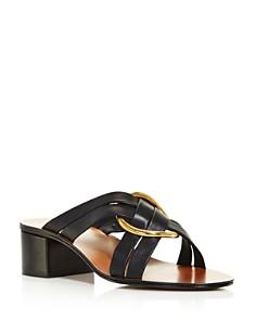Chloé - Women's Rony Leather Mid-Heel Sandals