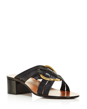 Chloe Women's Rony Leather Mid-Heel Sandals