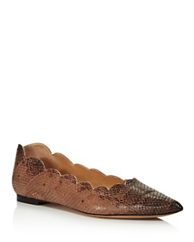 Chloé - Women's Lauren Pointed Toe Snakeskin-Embossed Leather Ballerina Flats