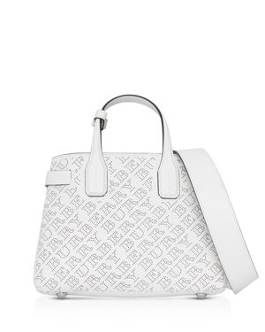 Banner Small Perforated Tote Bag, Chalk White