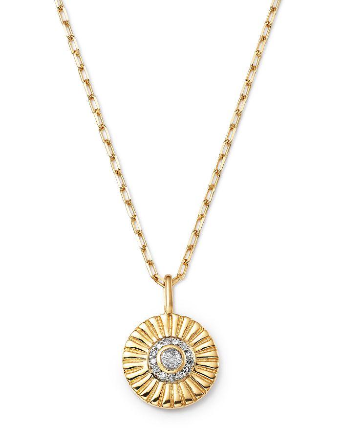 "Adina Reyter - 14K Yellow Gold Rays Diamond Small Pendant Necklace, 18"""