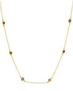 "AQUA - Indian Summer Multicolor Station Necklace in 18K Gold Tone-Plated Sterling Silver, 15"" - 100% Exclusive"
