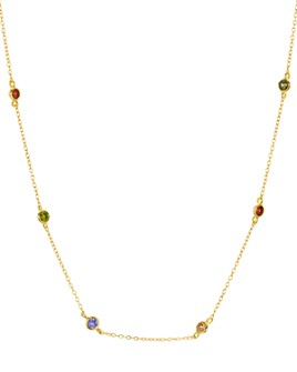 """AQUA - Indian Summer Multicolor Station Necklace in 18K Gold Tone-Plated Sterling Silver, 15"""" - 100% Exclusive"""