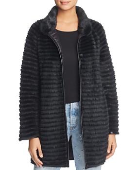 Maximilian Furs - Reversible Mink Fur Coat with Rabbit Fur Trim