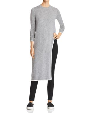 MARLED X Olivia Culpo Side-Slit Tunic Sweater in Gray Ivory