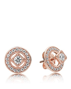 698ee660c Pandora - Vintage Allure Rose Gold Tone-Plated Sterling Silver Stud Earrings.  Quick View