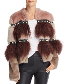 Urbancode - Embellished Color-Blocked Fur Coat