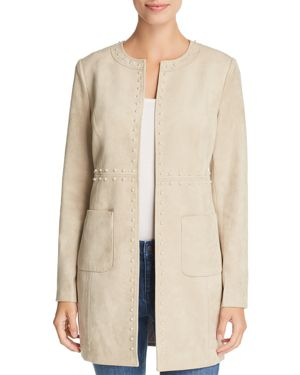 Pearly-Trim Faux Suede Topper Jacket in Multi