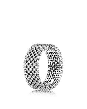 PANDORA - Heraldic Check Sterling Silver & Cubic Zirconia Ring