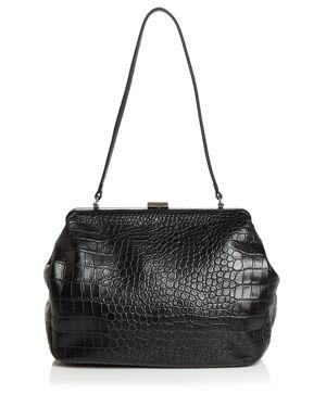 STEVEN ALAN Zander Medium Croc-Embossed Leather Satchel in Black/Silver