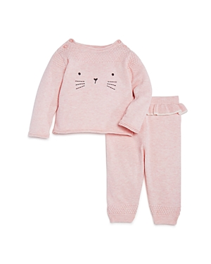 Miniclasix Girls Embroidered Sweater Top  Knit Ruffled Pants Set  Baby