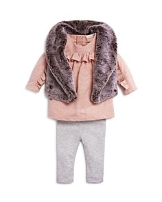 Miniclasix - Girls' Faux-Fur Vest, Ruffled Top & Leggings Set - Baby