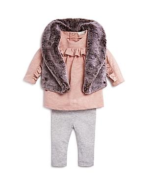 Miniclasix Girls FauxFur Vest Ruffled Top  Leggings Set  Baby