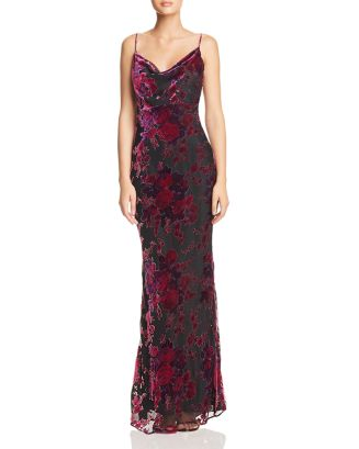 Midori Floral Velvet Burnout Gown by Likely