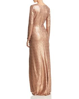 Tadashi Shoji - Sequined Faux-Wrap Gown
