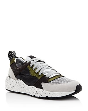 P448 WOMEN'S ALEX MIXED LEATHER LACE-UP SNEAKERS