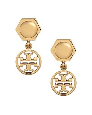 Tory Burch Hexagonal Logo Circle Drop Earrings In Gold