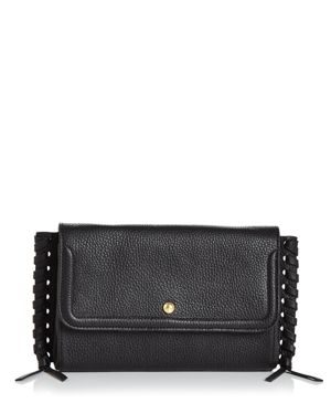ANNABEL INGALL Emma Oversize Whipstitch Leather Clutch in Black/Gold