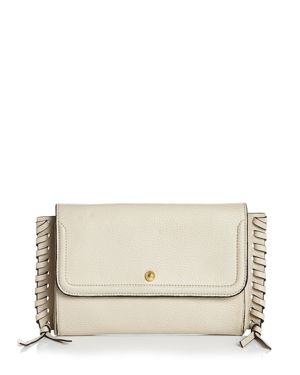 ANNABEL INGALL Emma Oversize Whipstitch Leather Clutch in Linen/Gold