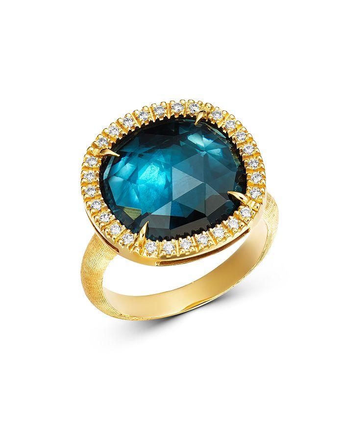 Marco Bicego 18k Yellow Gold Jaipur Sunset London Blue Topaz & Diamond Ring In Blue/gold
