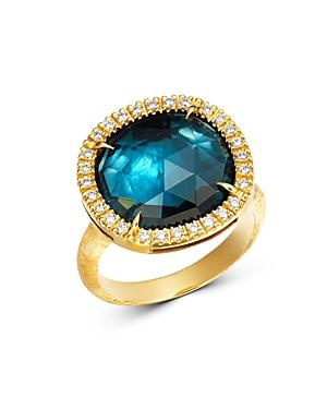 Marco Bicego 18K Yellow Gold Jaipur Sunset London Blue Topaz & Diamond Ring-Jewelry & Accessories