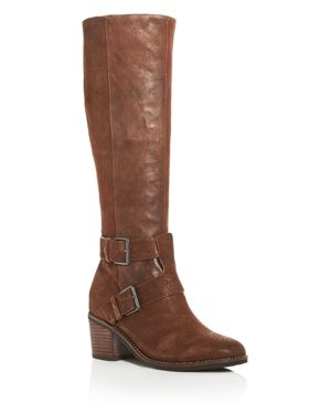 GENTLE SOULS Gentle Souls Women'S Verona Block-Heel Riding Boots in Walnut Suede