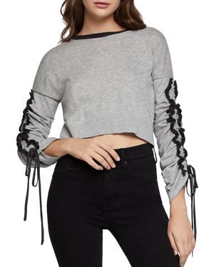 BCBGENERATION Lace-Up Ruffle Cropped Sweater in Gray