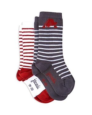 Jacadi Boys Striped Dog Socks Set of 2  Baby
