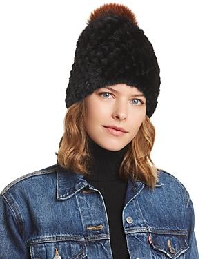 5401d5ad3 Fox Fur Pom-Pom & Knit Mink Fur Beanie in Black/Multi
