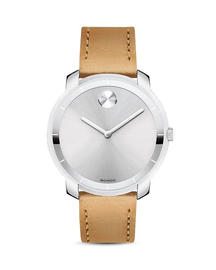 Movado Watch, 36Mm In Silver/Tan