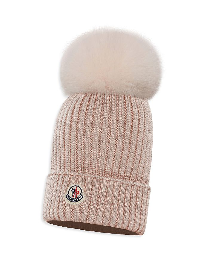 Moncler - Unisex Ribbed Fur-Pom Hat - Little Kid, Big Kid