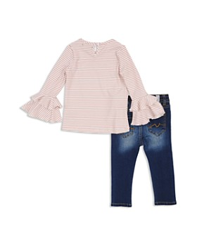 7 For All Mankind - Girls' Ribbed Bell-Sleeve Top & Skinny Jeans Set - Baby