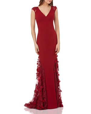 CARMEN MARC VALVO Cap-Sleeve Crepe Trumpet Gown With 3D Floral Mesh Detail in Burgundy