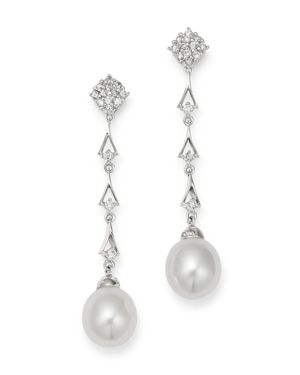 Bloomingdale's Diamond & Cultured Freshwater Pearl Drop Earrings in 14K White Gold - 100% Exclusive