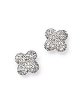 Bloomingdale's - Diamond Clover Stud Earrings in 14K White Gold, 0.60 ct. t.w. - 100% Exclusive