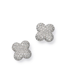 Bloomingdale's - Diamond Clover Stud Earrings in 14K White Gold, 0.60 ct. t.w. - 100% Exclusive