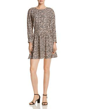 REBECCA TAYLOR Long-Sleeve Silk Leopard-Print Short Dress in Caramel Combo