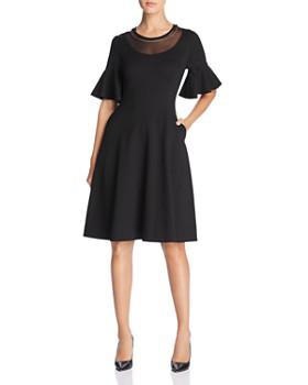 Donna Karan - Embellished Mesh-Neck Dress