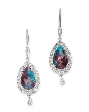Meira T 14K White Gold Paraiba & Diamond Teardrop Earrings