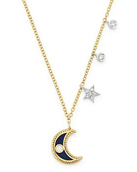 Meira T - 14K Yellow Gold & 14K White Gold Diamond & Enamel Moon Pendant Necklace, 18""