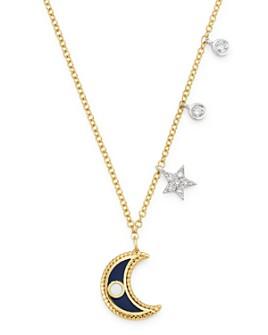 """Meira T - 14K Yellow Gold & 14K White Gold Diamond & Enamel Moon Pendant Necklace, 18"""""""