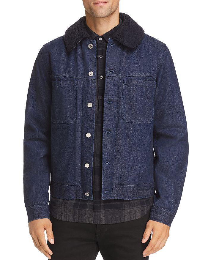 A.P.C. - Michigan Faux Shearling-Trimmed Denim Jacket