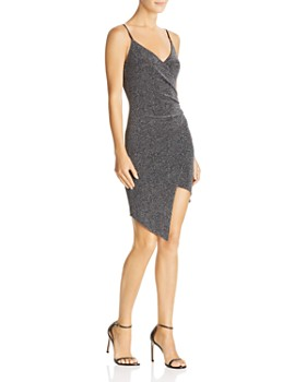Sunset & Spring - Metallic Ruched Faux-Wrap Dress - 100% Exclusive