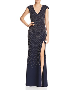 Avery G - Beaded Cap-Sleeve Gown
