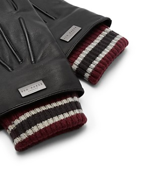 Ted Baker - Conver Ribbed-Cuff Leather Gloves